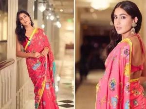 Sara Ali Khan Looks Beautiful In Multicolour Saree