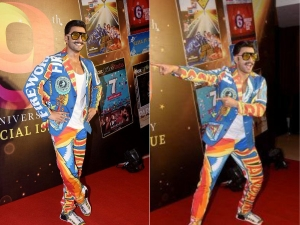 रंग-बिरंगे सूट में पटाखा से नजर आए रणवीर सिंह