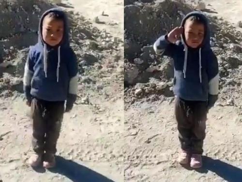 वीडियो: जवानों को सैल्यूट करते देखिए बच्चे का जोश